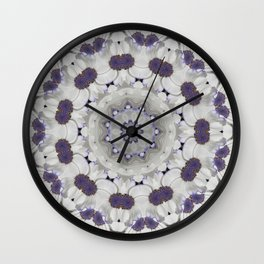Flowers Purple and white Wall Clock
