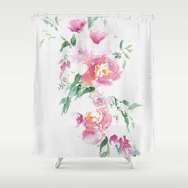Abstract spring bouquet in bright watercolor Shower Curtain