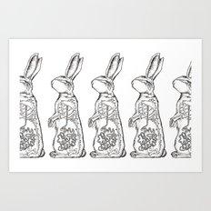 BUNNY X-RAY (multi) Art Print