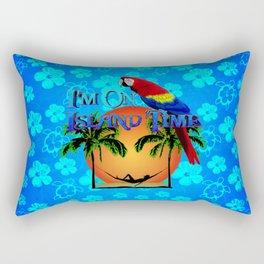 Island Time And Parrot Rectangular Pillow