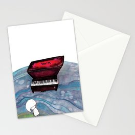Piano in the Sea Stationery Cards