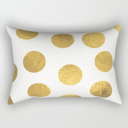 Gold Foil Polka Dots Rectangular Pillow