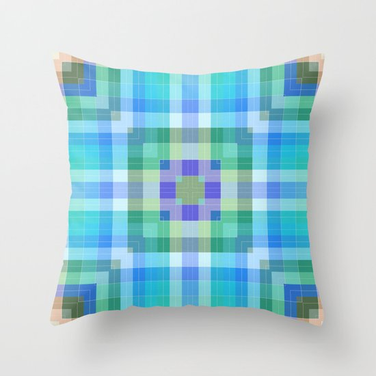 Blue Geometric Throw Pillows : Geometric Blue and Green Throw Pillow by Kelly Dietrich Society6