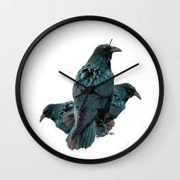 THREE CROWS/RAVENS  SOCIALIZING FROM SOCIETY6 Wall Clock