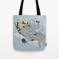 muscle Tote Bags featuring Muscle by Kensausage