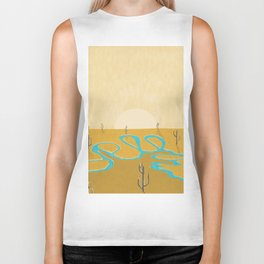 A stream of water in warm yellow desert Biker Tank