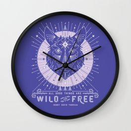 Wild & Free Wolf – Periwinkle Wall Clock