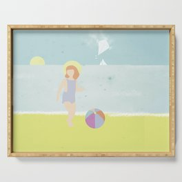 Girl at the beach with kite and ball in the 1950's vintage Serving Tray