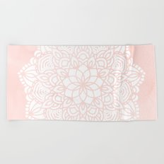 Mandala Mermaid Sea Pink by Nature Magick Beach Towel