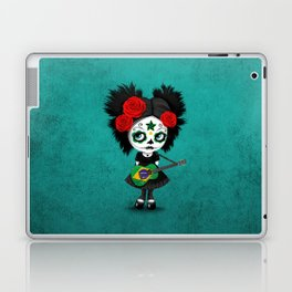 Day of the Dead Girl Playing Brazilian Flag Guitar Laptop & iPad Skin