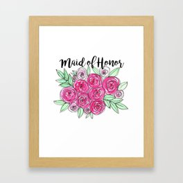 Maid of Honor Wedding Pink Roses Watercolor Framed Art Print