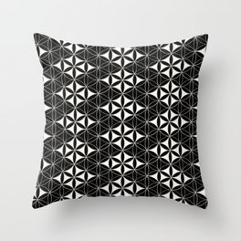 Flower of Life Pattern 12 Black White Throw Pillow