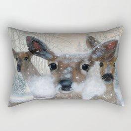 Deer in the Snowy Woods Rectangular Pillow