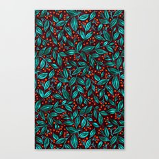 ORANGE BERRIES TURQUOISE LEAVES Canvas Print