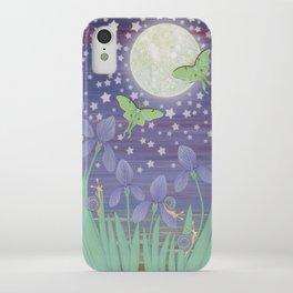 Moonlit stars, luna moths, snails, & irises iPhone Case
