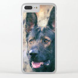 Working German Shepherd Dog GSD -  Watercolor Clear iPhone Case