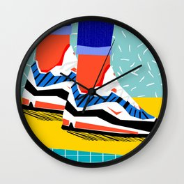 Super Fire - retro sneakers, throwback, memphis, fashion, shoes, sneakers, Wall Clock