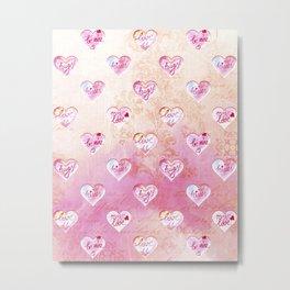 Vintage Pink Hearts with Love Words Metal Print
