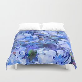 Wild Blue Rose Garden Duvet Cover