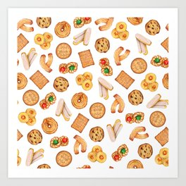 Biscuits, cookies, sweets and pastries Illustration | Food illustration Art Print