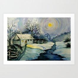 Winter, watercolor Art Print