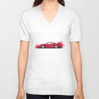 ferrari V-neck T-shirts featuring Ferrari F40  by Claeys Jelle Automotive Artwork