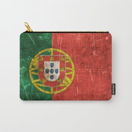 Vintage Aged and Scratched Portuguese Flag Carry-All Pouch