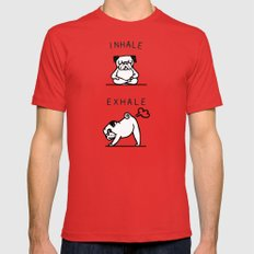 Inhale Exhale Pug Red X-LARGE Mens Fitted Tee