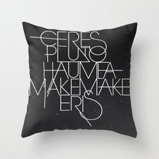 The Five Dwarf Planets Throw Pillow