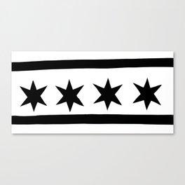 chicago flag black and white Canvas Print