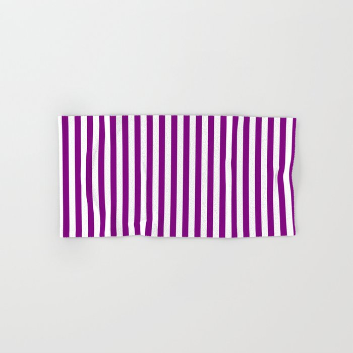 Vertical Stripes (Purple/White) Hand & Bath Towel