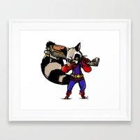 rocket raccoon Framed Art Prints featuring Rocket Raccoon by Action Kazimer