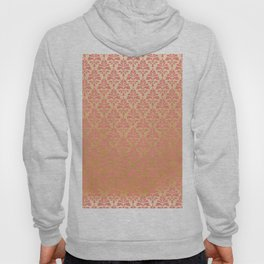 Modern chic coral faux gold floral elegant damask Hoody
