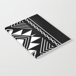 Aztec boho ethnic black and white Notebook