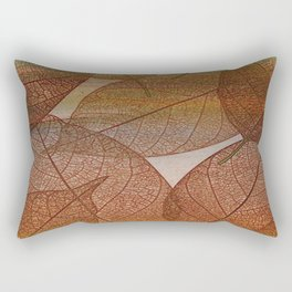 Painterly Amber And Brown Leaf Abstract Rectangular Pillow