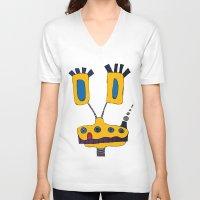 yellow submarine V-neck T-shirts featuring yellow submarine giraffe by JBLITTLEMONSTERS