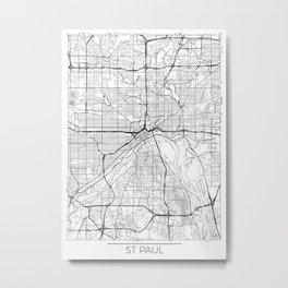 St Paul Map White Metal Print