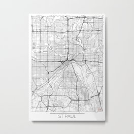 St Paul Map White Metal Print