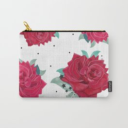 Love garden floral print red roses with stars hand drawn pattern Carry-All Pouch