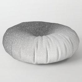 Elegant chic black silver gradient glitter Floor Pillow