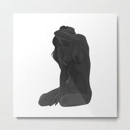 Nude in gray Metal Print