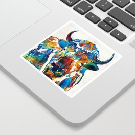 Colorful Buffalo Art - Sacred - By Sharon Cummings Sticker