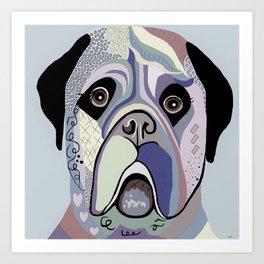 Mastiff in Denim Colors Art Print
