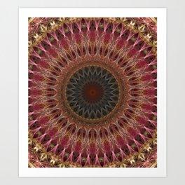 Mandala in brown and red tones Art Print