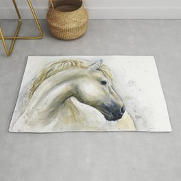 White Horse Watercolor Painting Animal Horses Rug