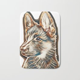A beautiful puppy is the German shepherd, isolated on a white background. Fluffy dog close-up of bro Bath Mat