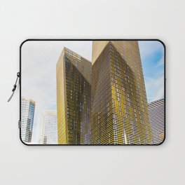 twin yellow buildings at Las Vegas, USA Laptop Sleeve