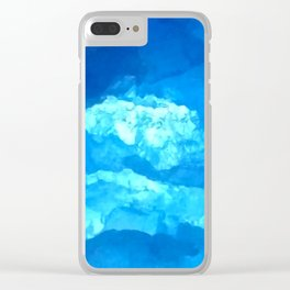 Blue Abstract Close Up Gemstone Clear iPhone Case
