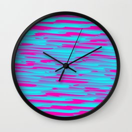 Running luxury light blue scribble of art waves and pink highlights. Wall Clock