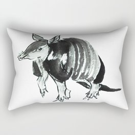 Nine-banded armadillo painted in traditional sumie technique Rectangular Pillow